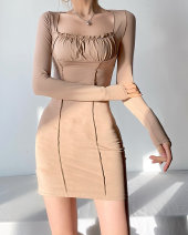Dress Spring 2021 Black, khaki, green S, M Short skirt singleton  Long sleeves street other High waist Solid color Socket One pace skirt routine 18-24 years old Type H 31% (inclusive) - 50% (inclusive) other other Europe and America
