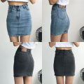 skirt Summer of 2019 S,M,L Blue, dark grey Short skirt Versatile High waist skirt Solid color 18-24 years old