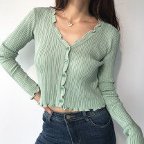 Wool knitwear Autumn 2020 S, M Green, purple, black, white, blue Long sleeves singleton  Cardigan other 81% (inclusive) - 90% (inclusive) have cash less than that is registered in the accounts routine commute Self cultivation V-neck routine 25-29 years old