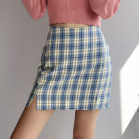 skirt Autumn of 2019 XS,S,M,L Blue, green, yellow, black and white, pink Short skirt Versatile High waist skirt lattice 25-29 years old 81% (inclusive) - 90% (inclusive) other