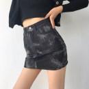 skirt Autumn 2020 XS,S,M,L Black, blue Short skirt Versatile High waist skirt other Type A 18-24 years old 51% (inclusive) - 70% (inclusive) Denim other zipper