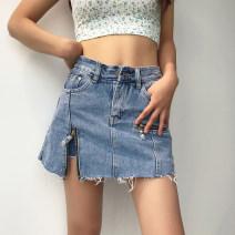 skirt Autumn 2020 XS,S,M,L Dark grey, light blue, dark blue Short skirt Versatile High waist Solid color 18-24 years old 71% (inclusive) - 80% (inclusive) Denim other