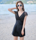 one piece  XL,XXL,XXXL Skirt one piece Steel strap breast pad Nylon, spandex, polyester female Short sleeve Casual swimsuit Solid color