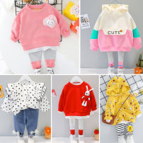 suit Other / other 73cm,80cm,90cm,100cm,110cm female spring and autumn princess Long sleeve + pants 2 pieces routine No model Socket nothing Solid color cotton children Expression of love Class A Cotton 95% polyester 5% 6 months, 12 months, 9 months, 18 months, 2 years, 3 years, 4 years