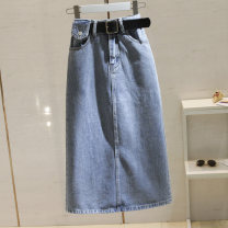skirt Spring 2021 S,M,L,XL blue longuette commute High waist A-line skirt Solid color Type A 25-29 years old More than 95% Denim other pocket Korean version