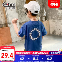 T-shirt blue Little elephant ham 110cm 120cm 130cm 140cm 150cm 160cm male summer Short sleeve Crew neck There are models in the real shooting nothing cotton Solid color Cotton 100% Y8217 Class B Summer 2021