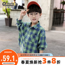 shirt Little elephant ham male 110cm 120cm 130cm 140cm 150cm 160cm spring and autumn Long sleeves Britain lattice other Lapel and pointed collar Cotton 60.4% polyester 39.6% LH001 Class B Spring 2020