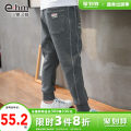 trousers Little elephant ham male 110cm 120cm 130cm 140cm 150cm 160cm grey winter trousers There are models in the real shooting Sports pants Leather belt middle-waisted cotton Don't open the crotch Cotton 70% polyester 30% Class B Spring 2021