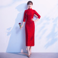 cheongsam Autumn 2020 S M L XL XXL XXXL three quarter sleeve long cheongsam Retro High slit daily Oblique lapel Solid color 18-25 years old Piping Luxury · style polyester fiber Polyester 100% Pure e-commerce (online only)