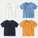 T-shirt White, gray, yellow, green, Navy, denim Other / other The recommended height is 90cm for clothing label 100, 100cm for clothing label 110, 110cm for clothing label 120, 120cm for clothing label 130 and 130cm for clothing label 140 male summer Short sleeve Crew neck Korean version No model