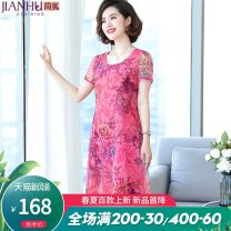 Middle aged and old women's wear Summer of 2019 fashion Dress easy singleton  Decor 40-49 years old Conjoined thin Crew neck Medium length other Jian Hu polyester Polyester 95% polyurethane elastic fiber (spandex) 5% 91% (inclusive) - 95% (inclusive) Medium length other other