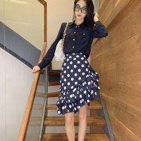 skirt Summer 2021 36,38,40 blue Short skirt commute High waist Ruffle Skirt Dot Type A BL1532 BALMAIN polyester fiber Button