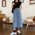 skirt Summer 2021 S,M,L blue Mid length dress commute High waist A-line skirt Solid color Type A 18-24 years old Korean version