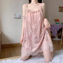 Pajamas / housewear set female Other / other Average size White, black, pink spandex Sleeveless Sweet pajamas summer routine square neck Solid color Socket youth one-piece garment lace Middle-skirt