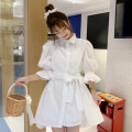 Dress Summer 2021 White lining dress Average size Middle-skirt singleton  Short sleeve commute Polo collar Loose waist Solid color Single breasted A-line skirt puff sleeve 18-24 years old Type A Korean version