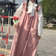 Dress Spring 2021 Average size Mid length dress singleton  Sleeveless Sweet Loose waist Socket A-line skirt straps 18-24 years old Type A solar system