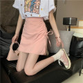 skirt Summer 2021 S,M,L White, black, pink Short skirt commute High waist A-line skirt Solid color Type A 18-24 years old Pleating Korean version