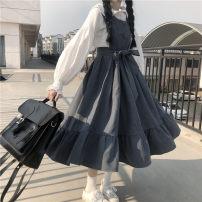 Dress Spring 2021 Blue dress, black dress, white shirt Average size Mid length dress Two piece set Long sleeves commute 18-24 years old Korean version