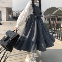 Dress Spring 2021 Blue dress, black dress, white shirt Average size Mid length dress Two piece set Long sleeves commute 18-24 years old Korean version