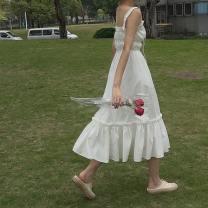 Dress Summer 2021 white Average size Mid length dress singleton  Sleeveless commute Elastic waist Solid color Socket Ruffle Skirt camisole 18-24 years old Type A Korean version