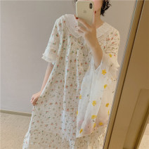 Pajamas / housewear set female Other / other Average size Picture color cotton Short sleeve Sweet Leisure home summer Thin money Crew neck Broken flowers Socket youth Less than 20% Lotus leaf edge 200g and below longuette