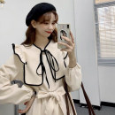 Dress Autumn 2020 Apricot, black Average size Mid length dress singleton  Long sleeves commute Crew neck High waist Solid color Socket A-line skirt routine 18-24 years old Type A Korean version