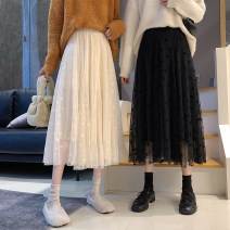 skirt Spring 2021 Average size Apricot, black Mid length dress commute High waist A-line skirt Type A 18-24 years old Korean version