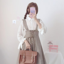 Dress Spring 2021 White shirt (one piece), lace plaid skirt (one piece) Average size Mid length dress Two piece set commute High waist lattice straps 18-24 years old Korean version 30% and below other