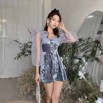one piece  Tang Tang family swimsuit XL,L,M grey With chest pad without steel support female Long sleeves Casual swimsuit