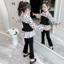 suit Pudding master Black suit black two piece set black three piece set black three piece set kxx539 pink three piece set kxx539 110cm 120cm 130cm 140cm 150cm 160cm 170cm female spring and autumn leisure time Long sleeve + pants 2 pieces routine There are models in the real shooting A button nothing