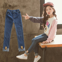 trousers Pudding master female 110cm 120cm 130cm 140cm 150cm 160cm Blue Pearl Jeans Blue nail pearl flared pants blue bright diamond flared pants spring and autumn trousers There are models in the real shooting Jeans Leather belt High waist other Don't open the crotch Other 100% Rabbit pants Class B