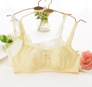 Bras White light yellow 85B Detachable shoulder strap Rear double row buckle Wireless  Full cup strapless  Bodyguard Developmental students (7-18 years old) Upper support Thin cotton cup No insert Cartoon animation Sweet bow fifty-two thousand and eighty-six summer cotton More than 95% Cotton fabric