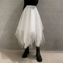 skirt Winter 2020 S,M,L white Mid length dress Versatile High waist A-line skirt Solid color Type A 18-24 years old b-0143 30% and below other Other / other other Gauze