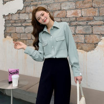 Women's large Spring 2021 Green, green L [genuine quality assurance], 1XL [genuine quality assurance], 2XL [genuine quality assurance], 3XL [genuine quality assurance], 4XL [genuine quality assurance] shirt singleton  commute easy moderate Cardigan Long sleeves Solid color Ol style Polo collar MS288