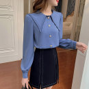 Women's large Spring 2021 blue L [genuine quality assurance], 1XL [genuine quality assurance], 2XL [genuine quality assurance], 3XL [genuine quality assurance], 4XL [genuine quality assurance] shirt singleton  commute easy moderate Cardigan Long sleeves Solid color Ol style routine bishop sleeve
