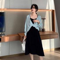 Women's large Spring 2021 Black skirt, blue sun shirt L [genuine quality assurance], 1XL [genuine quality assurance], 2XL [genuine quality assurance], 3XL [genuine quality assurance], 4XL [genuine quality assurance] Dress IN1631 Blue language