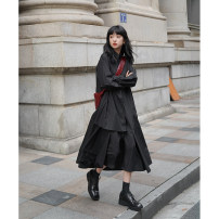 Dress Spring 2021 S,M,L longuette singleton  Long sleeves commute square neck Solid color A-line skirt routine Others 18-24 years old SUPERSCAPE Retro