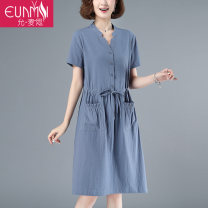 Dress Summer 2020 Blue coral powder light blue light gray green M L XL 2XL Mid length dress singleton  Short sleeve commute V-neck middle-waisted Solid color Socket A-line skirt routine Others 40-49 years old Type H Eunmsi / Yun Maisi literature Pocket tie YMS20A5537Y884 More than 95% cotton