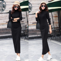 Dress Autumn 2020 Black (matte), black (plush) S,M,L,XL,2XL,3XL longuette singleton  Long sleeves commute Half high collar middle-waisted Solid color Socket One pace skirt routine 25-29 years old Type H Korean version 51% (inclusive) - 70% (inclusive) cotton