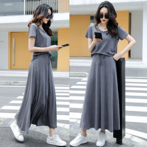 skirt Summer 2021 S,M,L,XL,2XL Black super long, dark grey super long, black long, dark grey long longuette commute Natural waist A-line skirt Solid color Type A 18-24 years old 31% (inclusive) - 50% (inclusive) modal  Korean version 201g / m ^ 2 (including) - 250G / m ^ 2 (including)