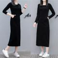 Dress Autumn 2020 black S,M,L,XL,2XL,3XL Mid length dress singleton  Long sleeves commute Crew neck middle-waisted Solid color Socket other routine Others 25-29 years old Type H Korean version pocket 81% (inclusive) - 90% (inclusive) other cotton