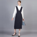Dress Spring 2021 Tibetan green 7/S,9/M,11/L,13/XL Mid length dress singleton  Sleeveless V-neck High waist Socket One pace skirt 30-34 years old Type H Show long SP3L07 More than 95% other