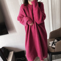 Dress Autumn 2020 Black, Pitaya Average size longuette singleton  Long sleeves commute Crew neck Solid color Socket routine 18-24 years old