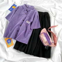 Fashion suit Summer 2021 Average size Purple shirt, black skirt 18-25 years old 71% (inclusive) - 80% (inclusive)