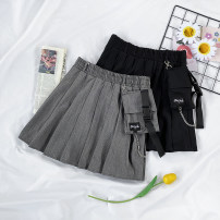 skirt Autumn 2020 M, L Gray, black Short skirt Versatile High waist Pleated skirt Solid color Type A 18-24 years old 71% (inclusive) - 80% (inclusive)