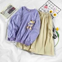 Fashion suit Autumn 2020 S,M,L,XL Purple sweater, apricot dress 18-25 years old 71% (inclusive) - 80% (inclusive)