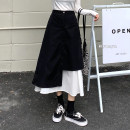 skirt Spring 2021 M, L Grey, khaki, black Mid length dress commute High waist A-line skirt Solid color Type A 18-24 years old 30% and below other other Asymmetric, zipper, stitching Korean version