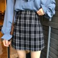 skirt Spring 2020 S,M,L Black and white, yellow Short skirt Natural waist A-line skirt lattice Type A 18-24 years old 3017# 91% (inclusive) - 95% (inclusive) other polyester fiber