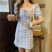 Dress Summer 2021 Blue lattice S, M Middle-skirt singleton  Short sleeve commute square neck Socket 18-24 years old Korean version 71% (inclusive) - 80% (inclusive) cotton