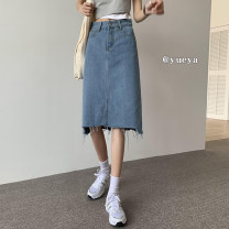 skirt Summer 2021 S,M,L,XL Black, blue Mid length dress Versatile High waist Denim skirt Solid color Type A 18-24 years old 71% (inclusive) - 80% (inclusive)